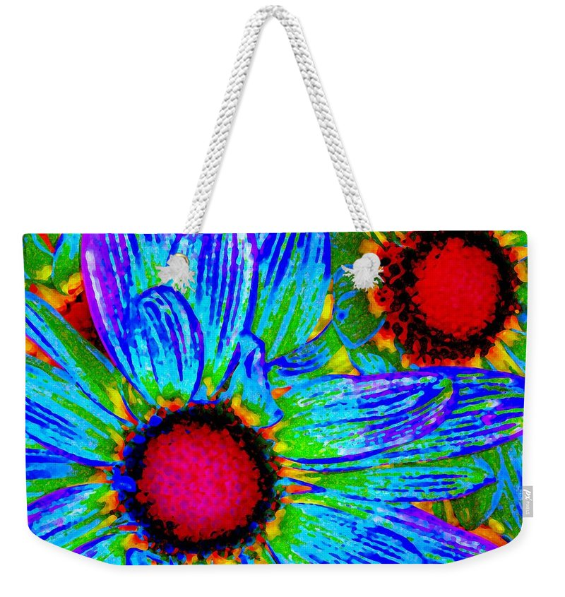 Pop Daisy Weekender Tote Bag featuring the painting Pop Art Daisies 2 by Amy Vangsgard