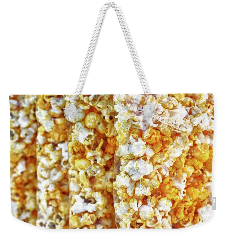Abstract Weekender Tote Bag featuring the photograph Pop Corn by Skip Nall