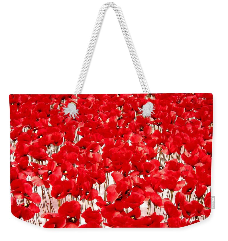 Europe Weekender Tote Bag featuring the photograph Poppy Meadow ... by Juergen Weiss