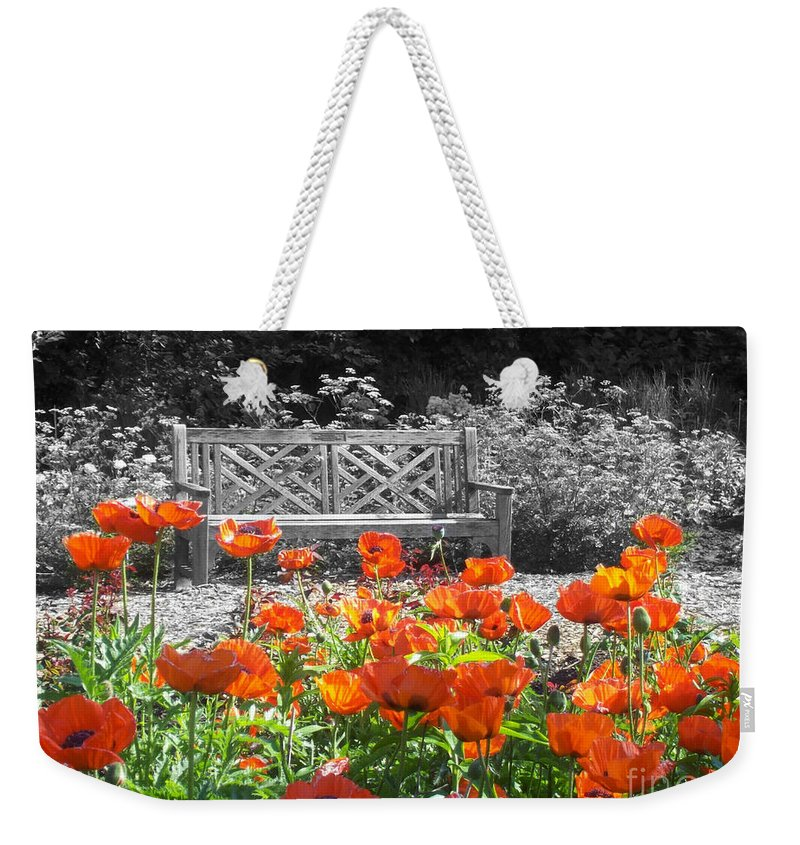 Nature Weekender Tote Bag featuring the photograph Poppy Seed Bench by Mary Mikawoz
