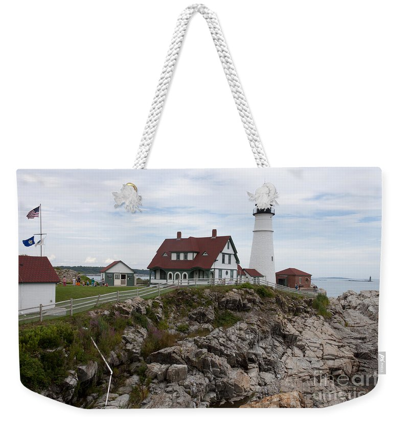 Cape Elizabeth Weekender Tote Bag featuring the photograph Portland Head Light Cape Elizabeth Fort Williams Maine by Thomas Marchessault