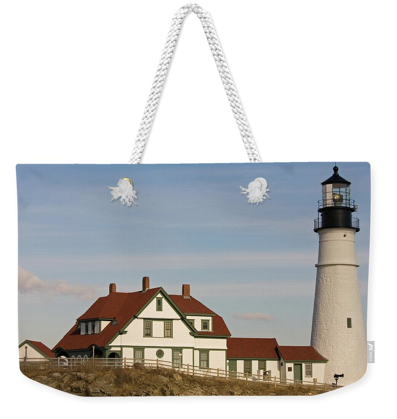 portland Head Light Weekender Tote Bag featuring the photograph Portland Head Light Profile by Paul Mangold