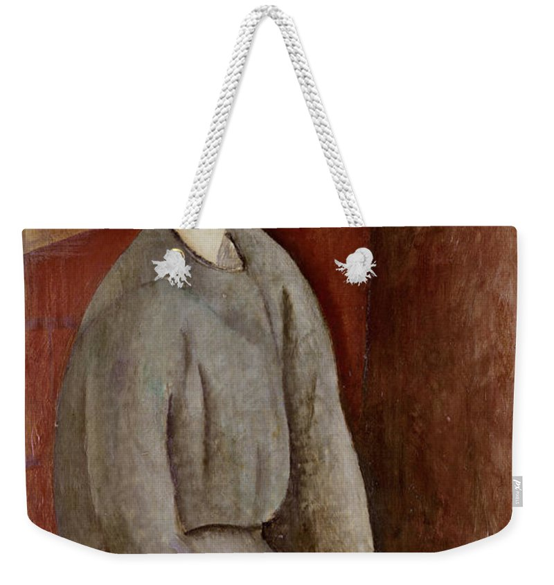 Portrait Weekender Tote Bag featuring the painting Portrait Of Annie Bjarne by Amedeo Modigliani