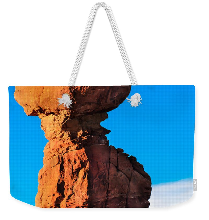 Balance Rock Weekender Tote Bag featuring the photograph Portrait Of Balance Rock by Robert Bales