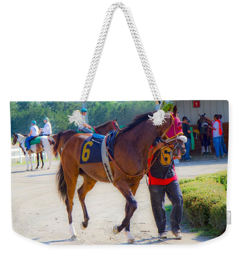 Post Weekender Tote Bag featuring the photograph Post-time Parade by Betsy Knapp