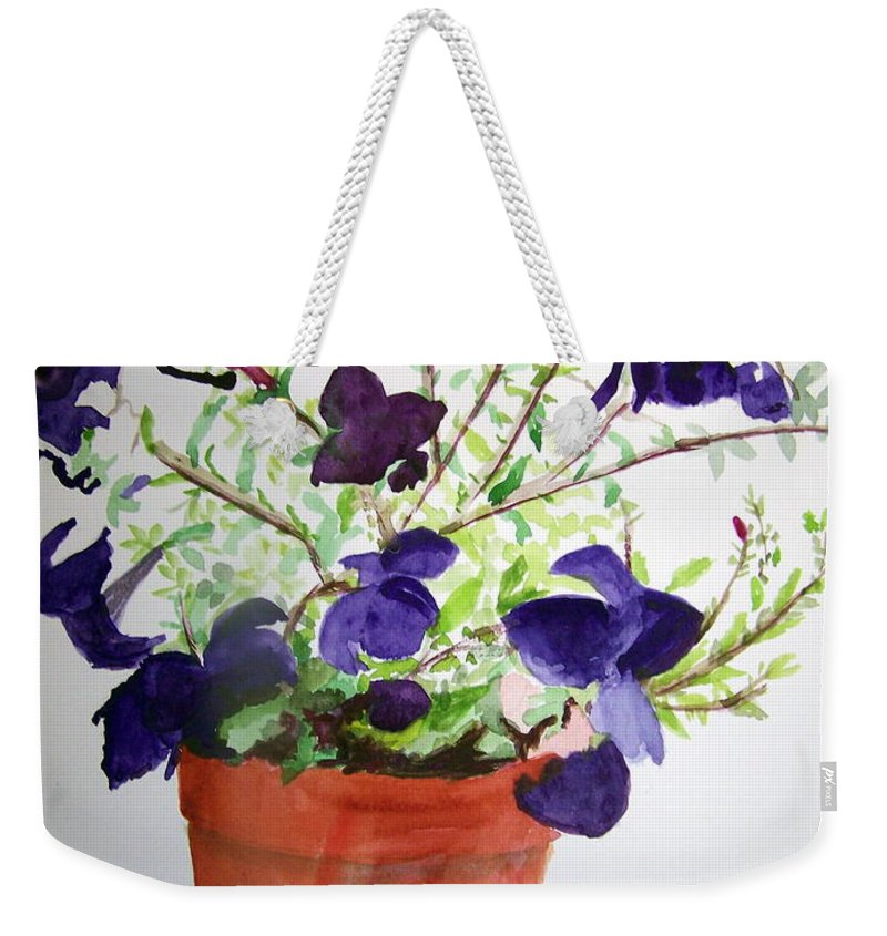 Purple Weekender Tote Bag featuring the painting Pot Of Flowers One by Hal Newhouser