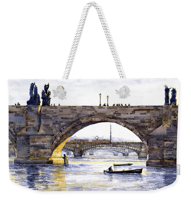 Watercolor Weekender Tote Bag featuring the painting Prague Bridges by Yuriy Shevchuk