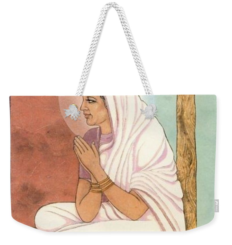 Indian Woman Weekender Tote Bag featuring the painting Prayer by Richard Laeton
