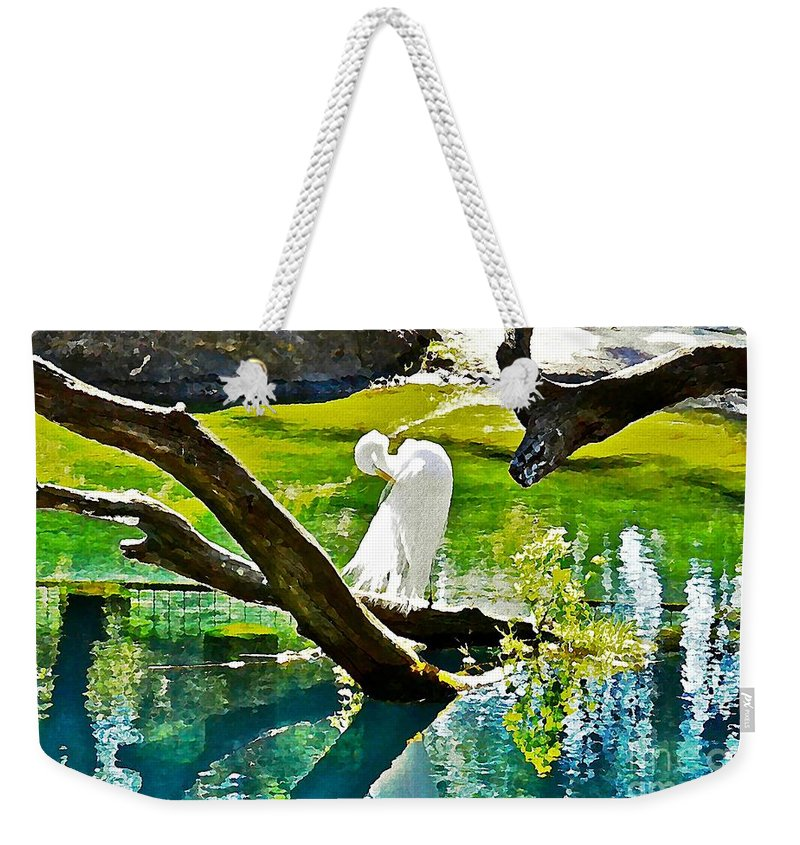 Egret Weekender Tote Bag featuring the photograph Preening Watercolor by Carol Bradley