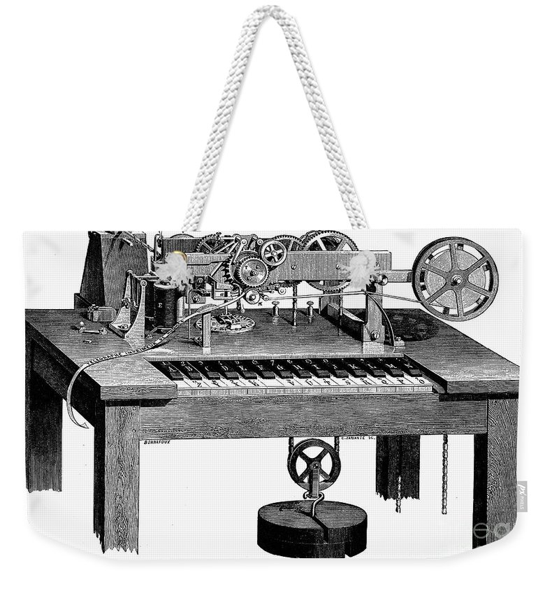 1873 Weekender Tote Bag featuring the photograph Printing Telegraph, 1873 by Granger