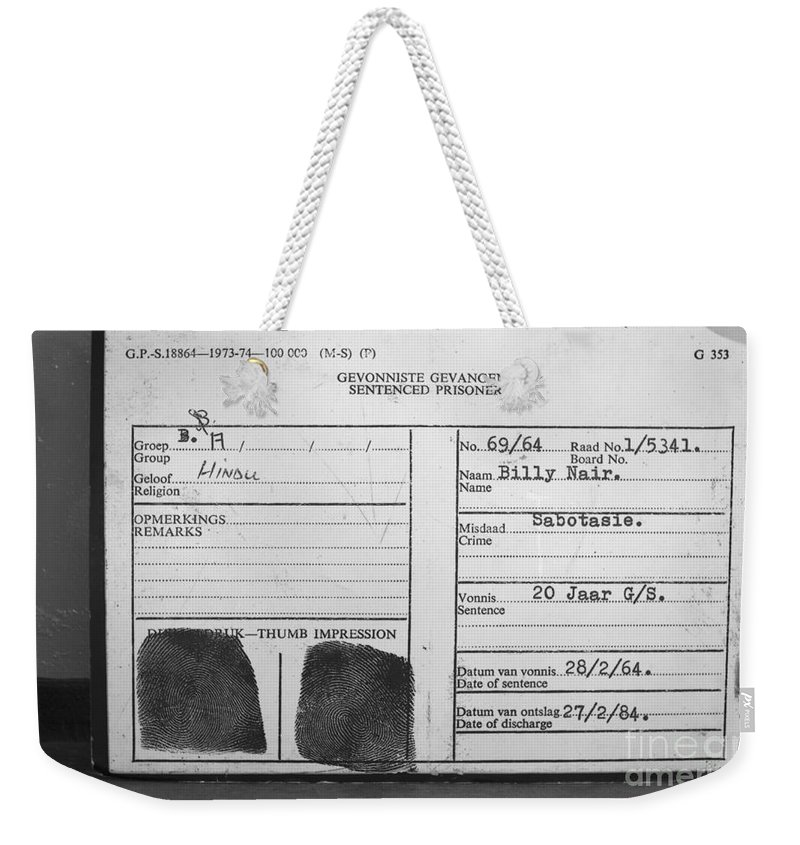 Robben Island Weekender Tote Bag featuring the photograph Prisoner Id by Aidan Moran