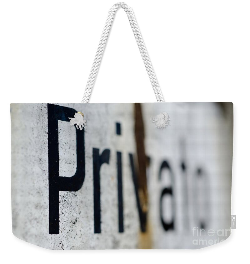 Private Weekender Tote Bag featuring the photograph Private by Mats Silvan