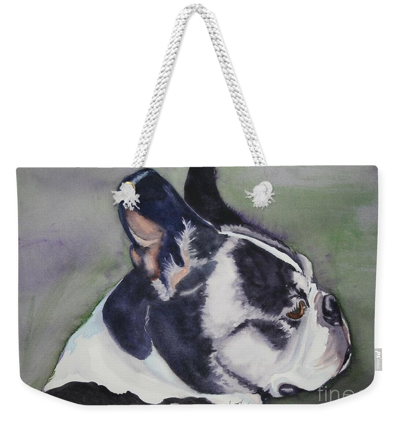 Boston Terrier Weekender Tote Bag featuring the painting Profile by Susan Herber