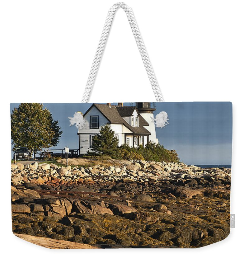 Corea Weekender Tote Bag featuring the photograph Prospect Harbor Lighthouse by John Greim