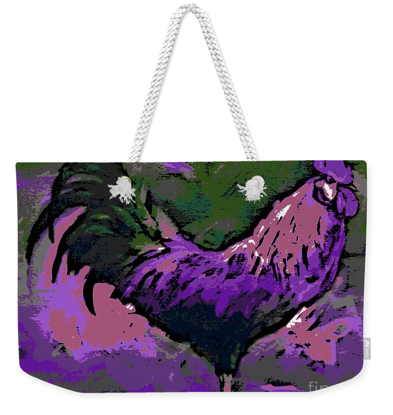 Purple Weekender Tote Bag featuring the painting Proud Rooster by George Pedro
