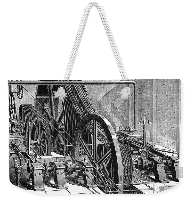 19th Century Weekender Tote Bag featuring the photograph Providence Tramway Machine by Granger