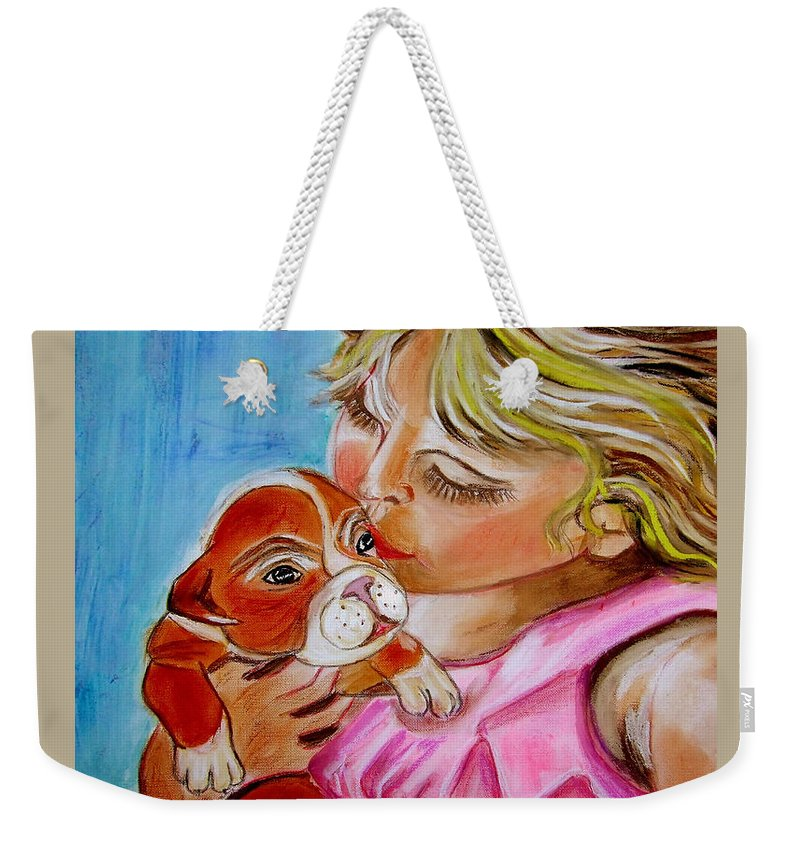 Children Weekender Tote Bag featuring the painting Puppy Love by Rusty Gladdish