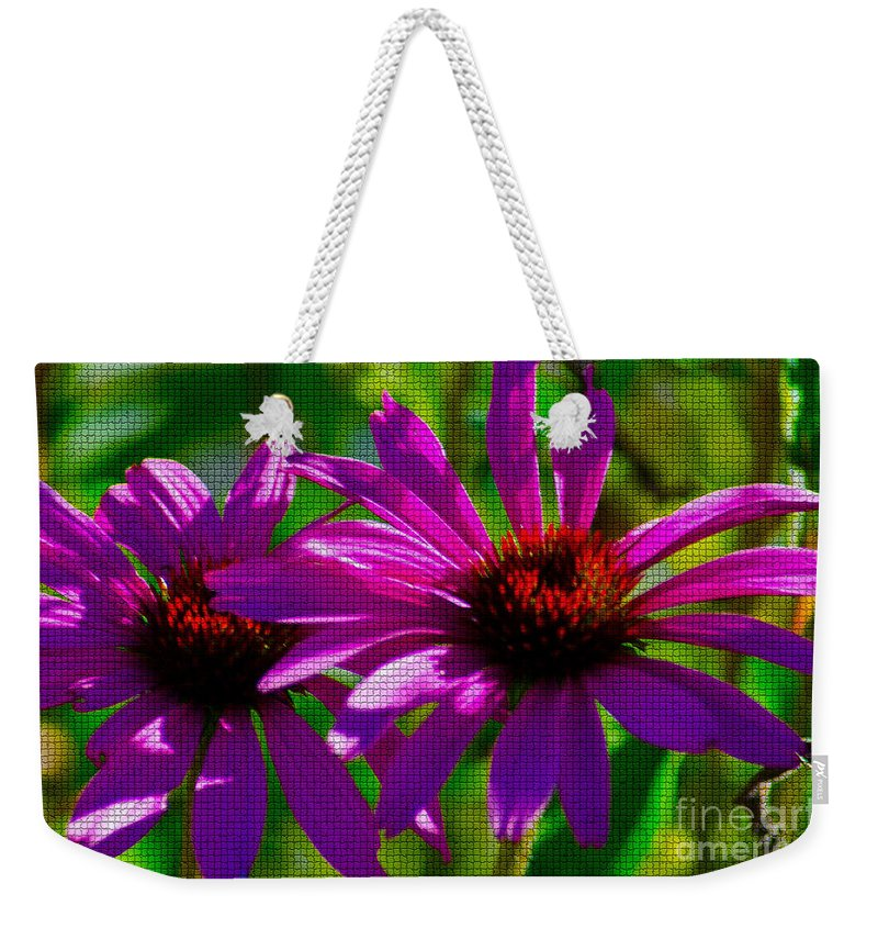 Fine Art Weekender Tote Bag featuring the photograph Purple Daisy's by Donna Greene