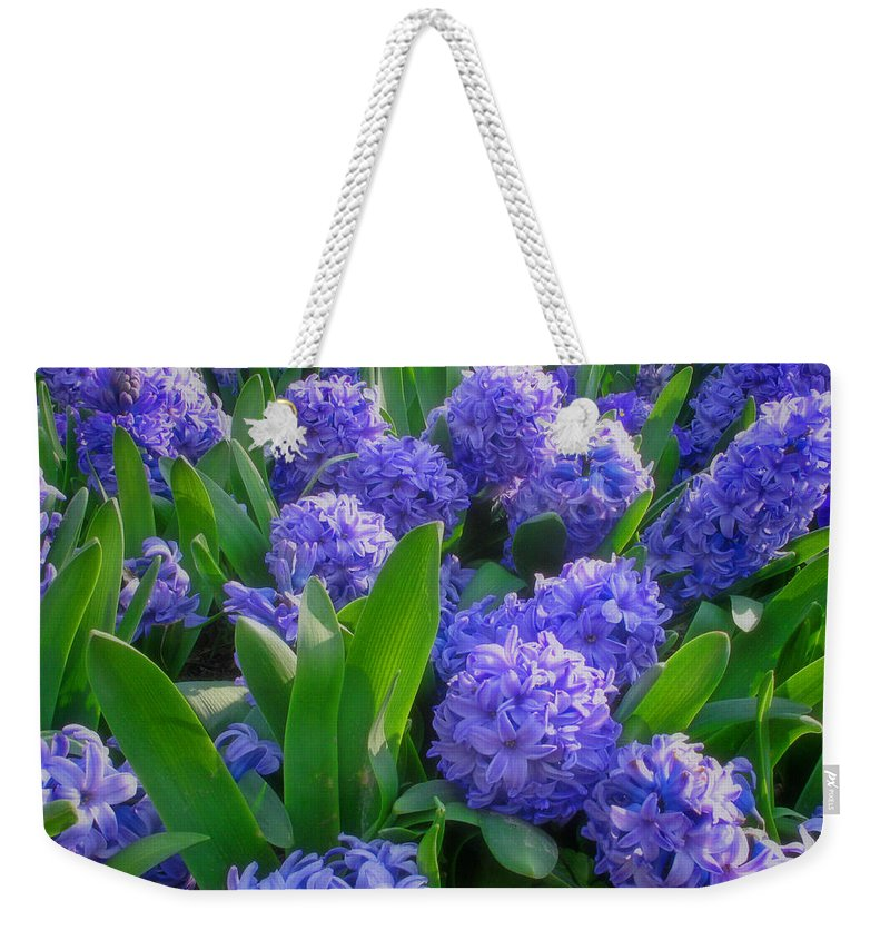 Purple Hyacinths Weekender Tote Bag featuring the photograph Purple Hyacinths by Greg Matchick