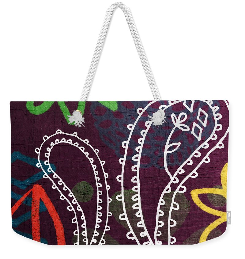 Paisley Weekender Tote Bag featuring the painting Purple Paisley Garden by Linda Woods