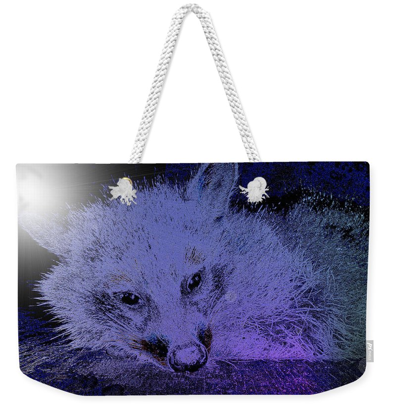 Animal Weekender Tote Bag featuring the photograph Purple Pleasures by Art Dingo
