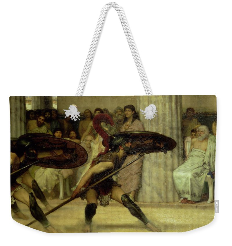 Gha6100 Weekender Tote Bag featuring the painting Pyrrhic Dance by Sir Lawrence Alma-Tadema