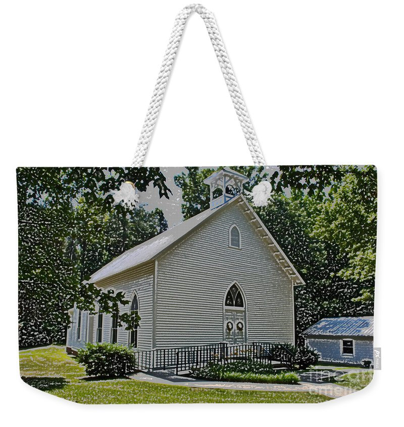 Scott Weekender Tote Bag featuring the photograph Quaker Church Pencil by Scott Hervieux