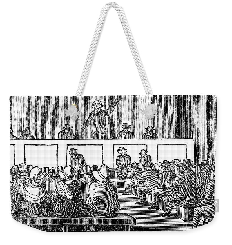 1842 Weekender Tote Bag featuring the photograph Quaker Worship, 1842 by Granger