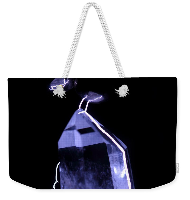 Electrical Weekender Tote Bag featuring the photograph Quartz Crystal & Sparks by Ted Kinsman