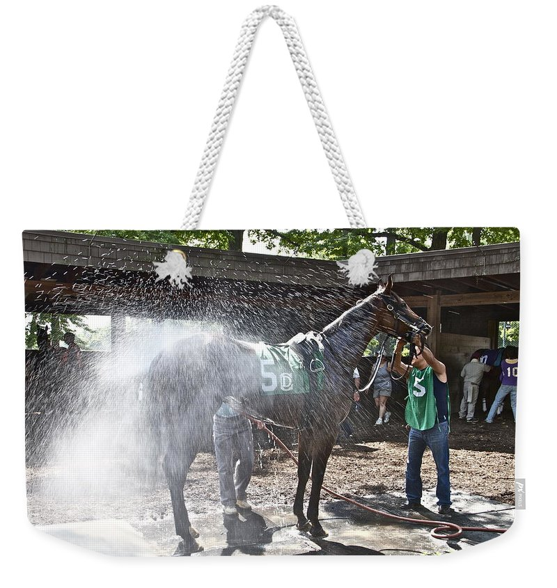 Horse Race Track Shower Sprayed Water Weekender Tote Bag featuring the photograph Quick Shower Before The Race by Alice Gipson