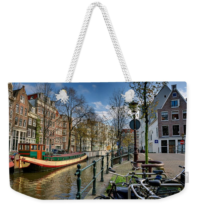 Holland Amsterdam Weekender Tote Bag featuring the photograph Raamgracht And Groenburgwal. Amsterdam by Juan Carlos Ferro Duque