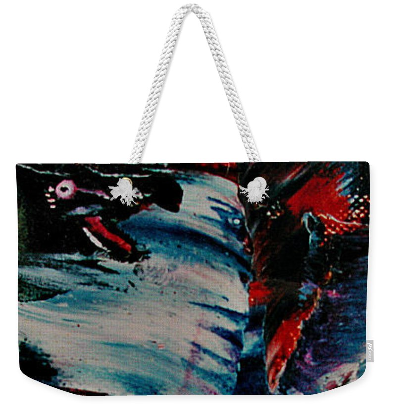 Weekender Tote Bag featuring the painting Rage by Willem Boogaard