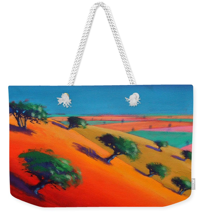 Hillside; Valley; Tree: Trees; Summer; Landscape; Hill; Field; Fields; Vivid; Colourful; Colorful; Arid; Colorful Weekender Tote Bag featuring the painting Ragged Stone Hill by Paul Powis
