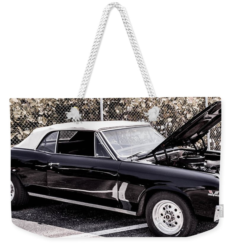 Ragtop Weekender Tote Bag featuring the photograph Ragtop In Black by Shannon Harrington