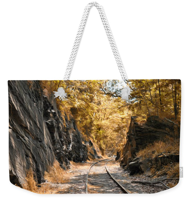 Rail Road Cut Weekender Tote Bag featuring the photograph Rail Road Cut by Bill Cannon