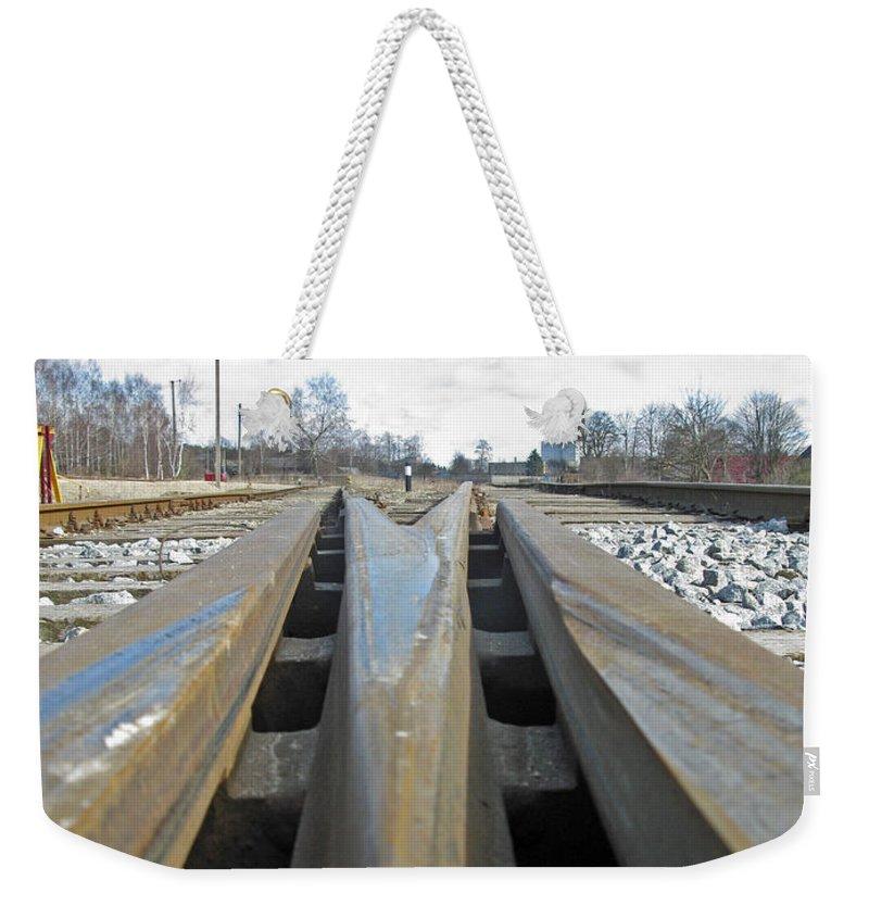 Railroad Weekender Tote Bag featuring the photograph Railroad Series 04 by Ausra Huntington nee Paulauskaite