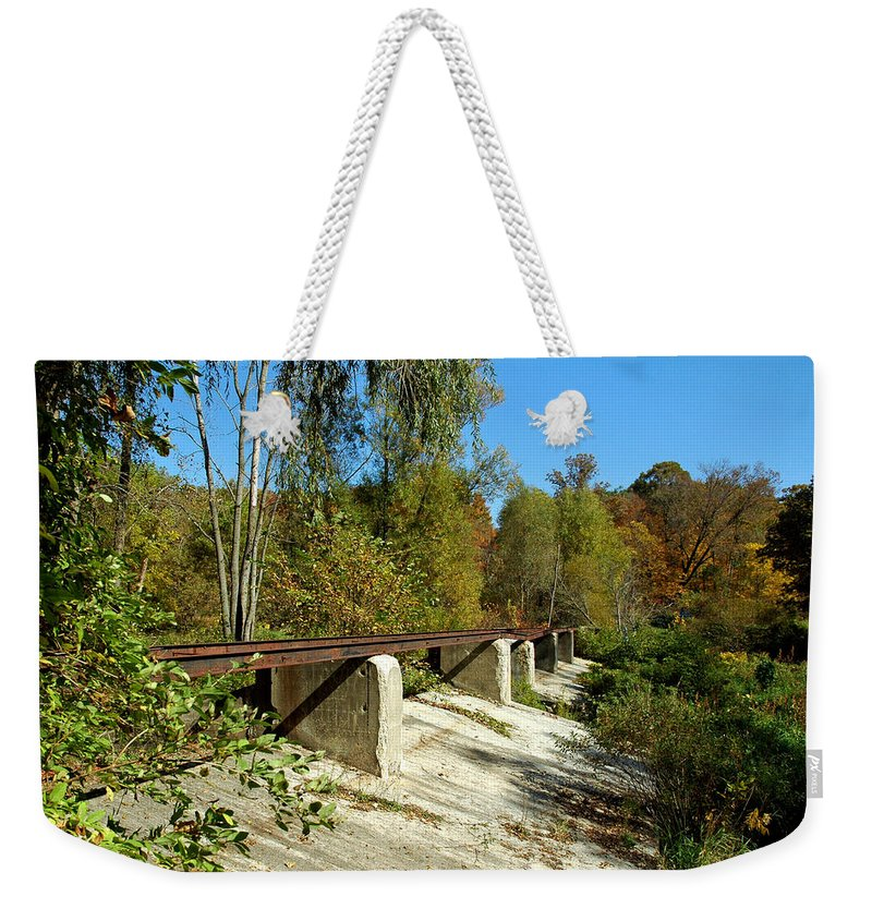 Usa Weekender Tote Bag featuring the photograph Rails To The Past by LeeAnn McLaneGoetz McLaneGoetzStudioLLCcom