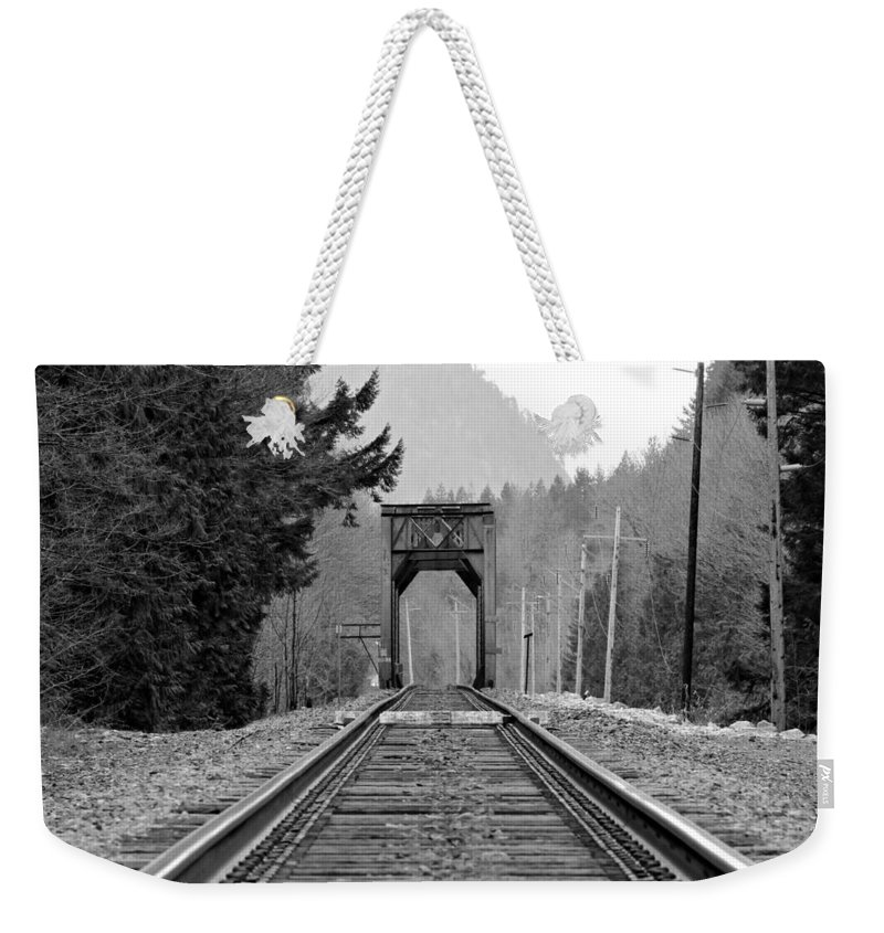 Old Weekender Tote Bag featuring the photograph Railway Track by Paul Fell