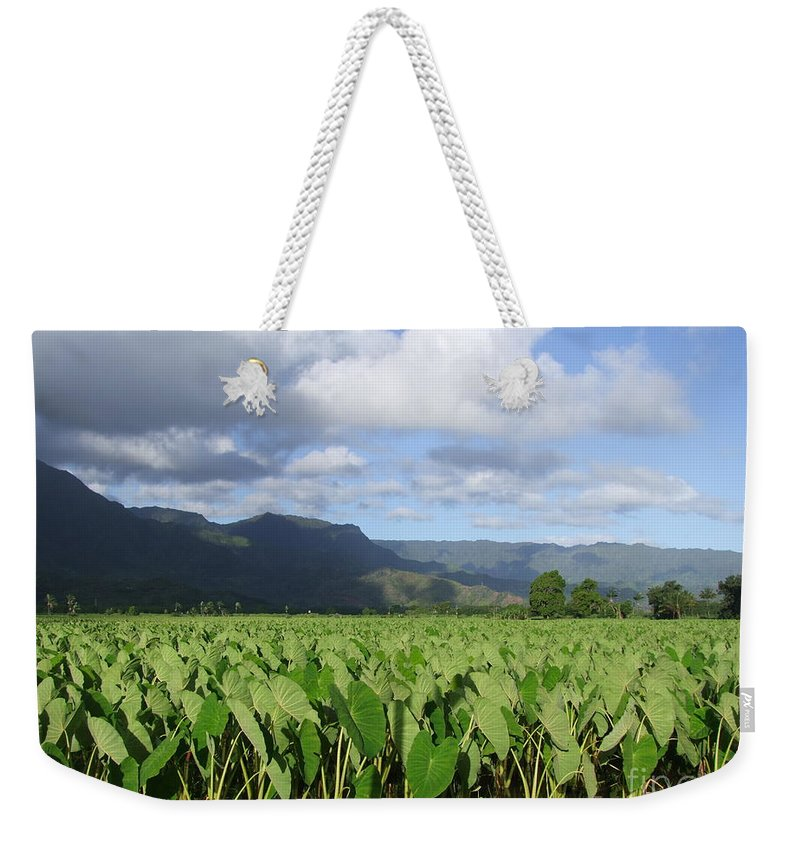 Hanalei Weekender Tote Bag featuring the photograph Rain Over A Hanalei Taro Field by Mary Deal