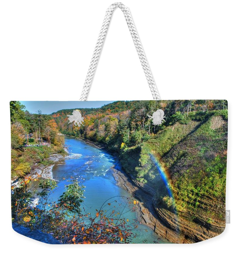 Weekender Tote Bag featuring the photograph Rainbow On A Beautiful Oct Day by Michael Frank Jr