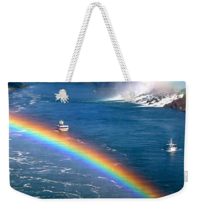 Niagara Falls Weekender Tote Bag featuring the photograph Rainbow On Niagara Falls by Diana Haronis