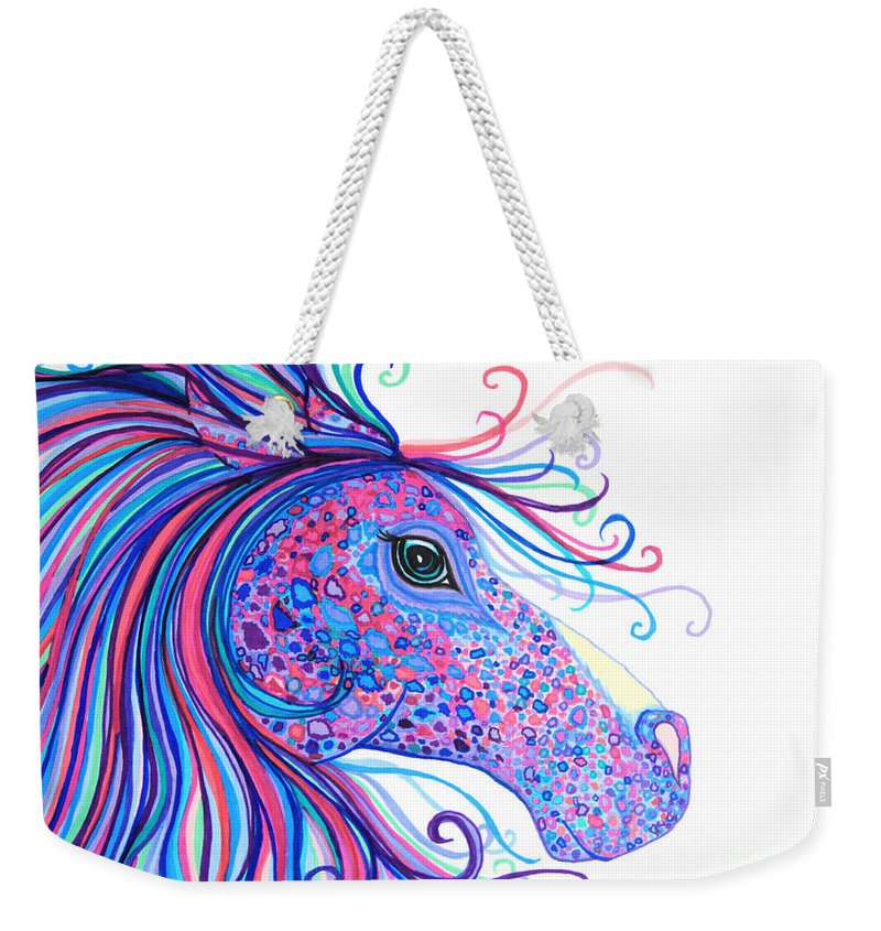 Horse Weekender Tote Bag featuring the drawing Rainbow Spotted Horse by Nick Gustafson