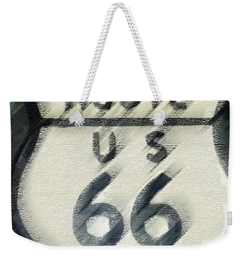 Route 66 Weekender Tote Bag featuring the photograph Rainy Night On Route 66 by Bill Owen