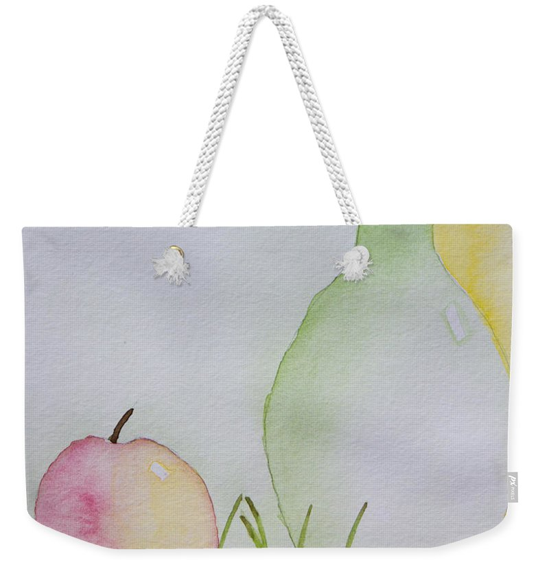 Watercolor Weekender Tote Bag featuring the painting Ranier Cherries And A Pink Lady by Heidi Smith