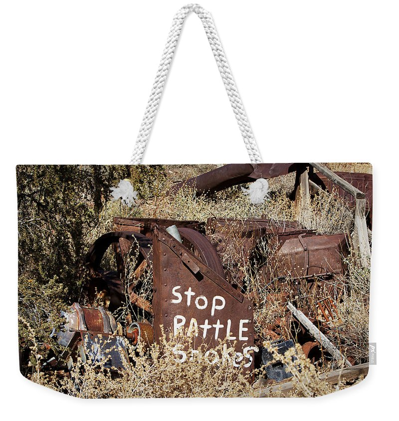 Sign Weekender Tote Bag featuring the photograph Rattlesnake Warning by Phyllis Denton