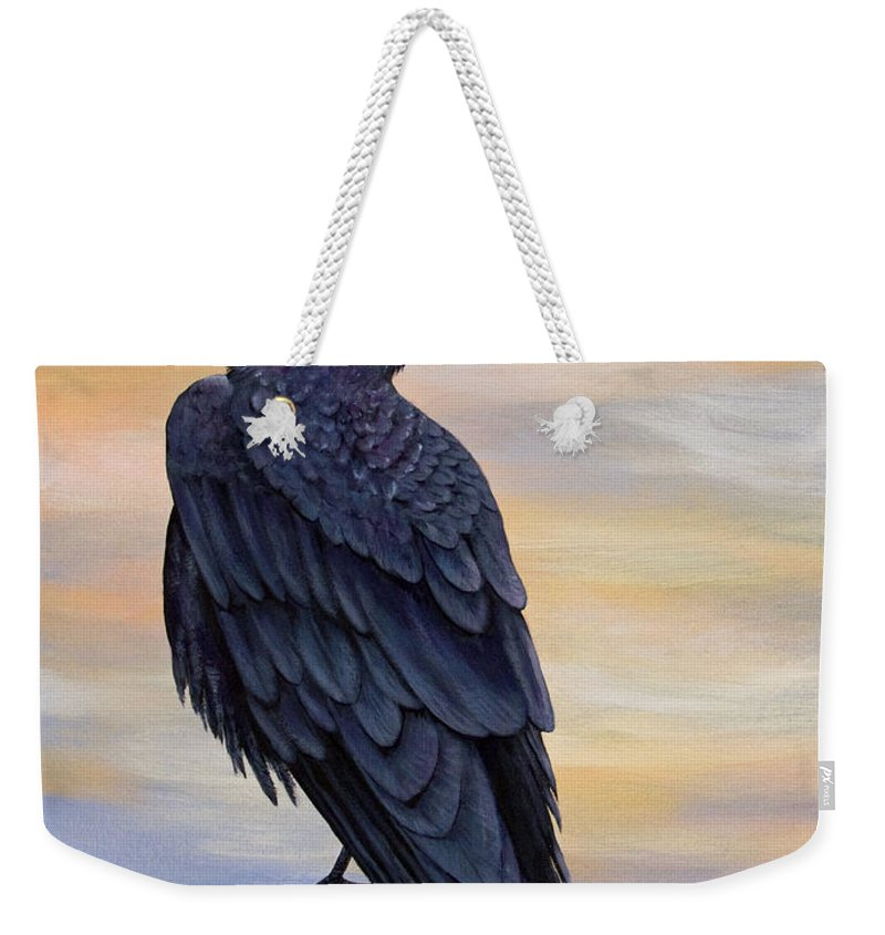 Raven Weekender Tote Bag featuring the painting Raven Beauty by Dee Carpenter
