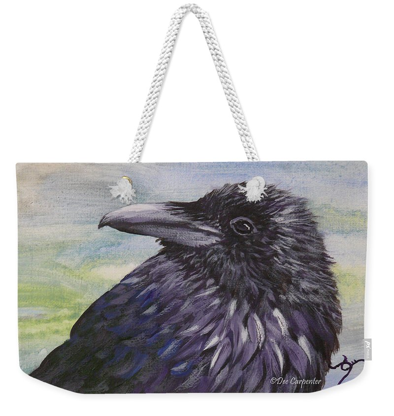 Raven Weekender Tote Bag featuring the painting Raven by Dee Carpenter