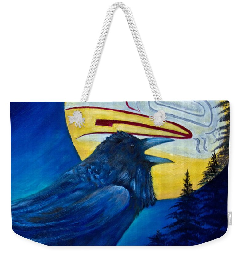 Raven Weekender Tote Bag featuring the painting Raven Spirit by Dee Carpenter
