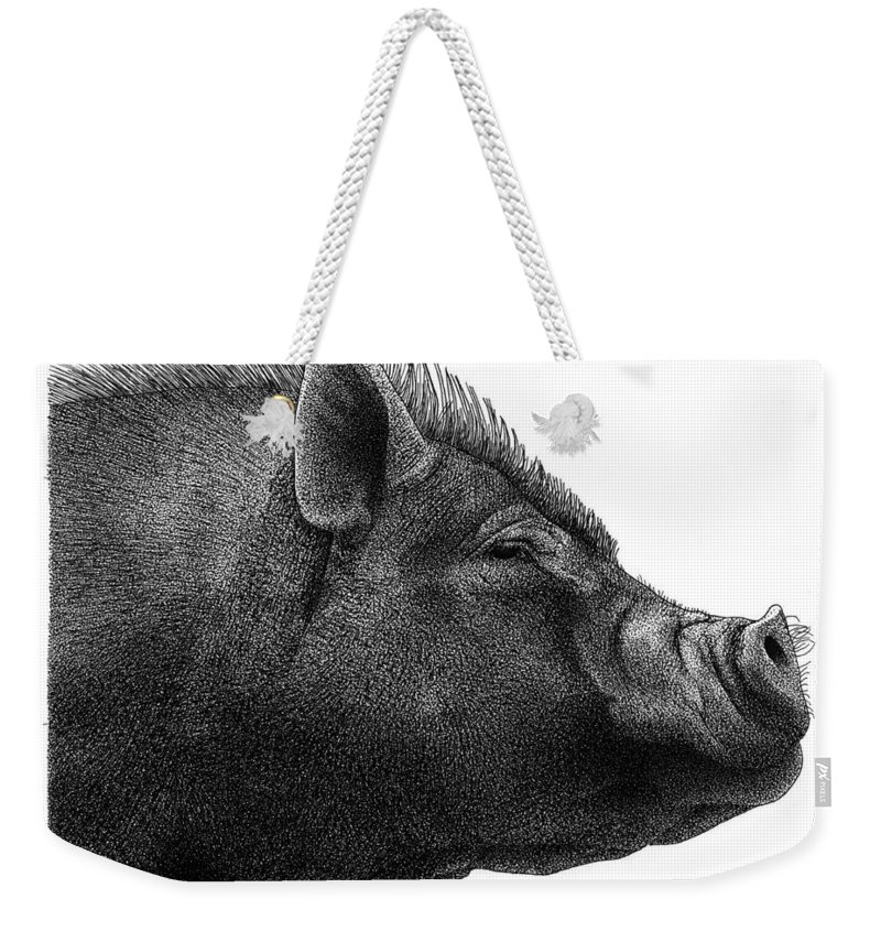 Razorback Weekender Tote Bag featuring the drawing Razorback by Scott Woyak