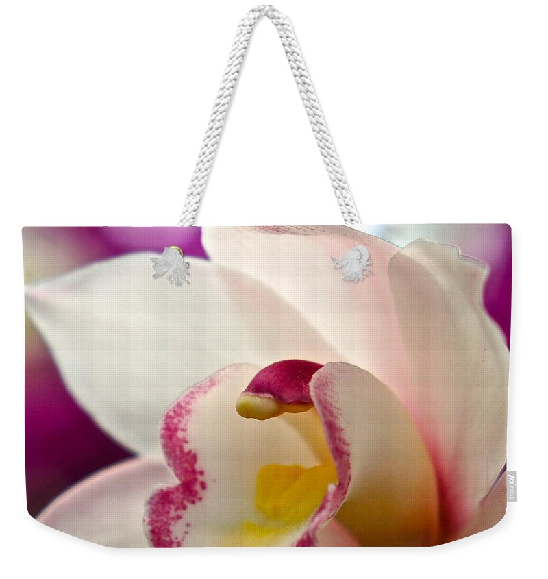 Orchid Macro Weekender Tote Bag featuring the photograph Ready And Willing by Byron Varvarigos
